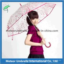 Impresión de regalo promocional Straight Plastic Flor Transparente Clear PVC Umbrella