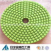 Color verde economía diamante pulido almohadilla uso mojado para granito