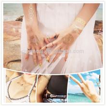 tatuagem provisória feita sob encomenda elegante da folha da etiqueta do tatuagem do ouro