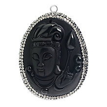 Wholesale Buddha Head Obsidian Gemstone Pendant Necklace Jewelry