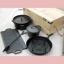 6pcs Pre-seasoned Cast Iron Large Camping Pots Set