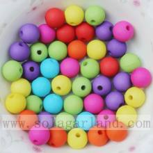 Frosted round acrylic beads solid colors for decoration