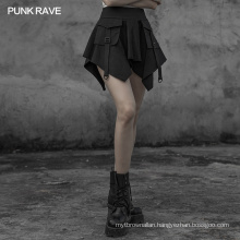 OPQ-603 PUNK RAVE Mini Skirt Fashion Spring Women Ladies Gothic Stitching Dark Wrap Skirt 100% Cotton Denim PUNK STYLE Plaid Bow