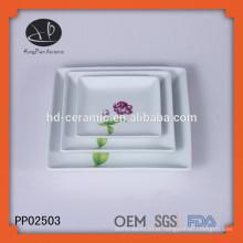 Prato de jantar de forma quadrada de cerâmica com decalque, placa de carregador para casa