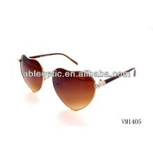 Marrom cor coração em forma de óculos de sol de metal por atacado Alibaba