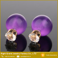 Günstige 12mm Crystal & Pearl Double Ball Ohrstecker