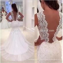 La manga del casquillo del vintage 2016 de Vestido De Noiva Appliques mueve hacia atrás vestidos de boda de la sirena del cordón de Casame MW957