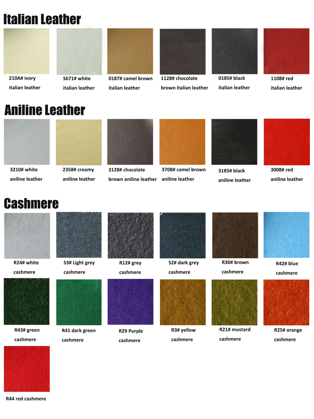 Leather And Fabric Colors Optional