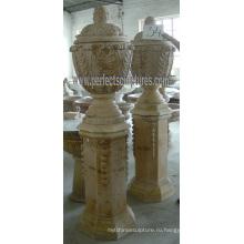 Камень мраморный цветочный горшок для садовой мебели (QFP280)