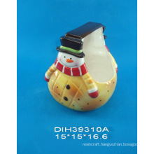 Hand-Painted Snowman-Shaped Ceramic Basket