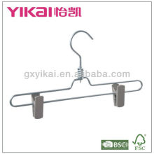 Percha de aluminio de alta calidad para pantalones con clips