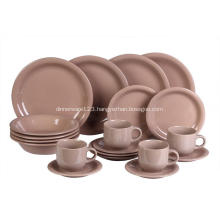 20 Pieces Stoneware Dinnerware Set Brown Color