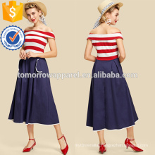 Contrast Binding Fold Over Striped Dress Manufacture Wholesale Fashion Women Apparel (TA3192D)