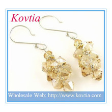 HOT SALE citrine crystal jewellery fashion silver dangle earring italian costume jewelry