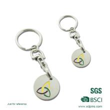 Keychain монетки вагонетки с Логосом Проштемпелеванным в корзину