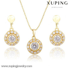 63754 Xuping Fashional Elegant Round Pendant and Earrings 14K Gold Plated Zircon Jewelry Set