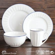 Ensemble de dîner en porcelaine blanc en relief 16PCS chaud