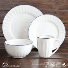 La venta caliente 16PCS grabó el sistema blanco de la cena de la porcelana