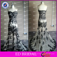 ED Bridal New Collection Real Photos A-Line Short Front Long Back Blac Lace Appliqued Tulle Evening Dress 2017