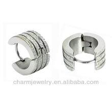 1. Wholesale 316L Surgical steel Sand surface Men's Earring Men's huggies earrings HE-030