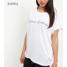 White Print Sport Women T Shirt