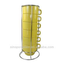 Ensemble de tasse de café empilé en céramique 6pcs pour BS140122F