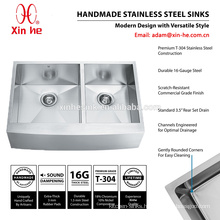 Stainless Steel 36 inch US America customized handmade 60/40 double bowl farmhouse apron front kitchen sink with grid optional