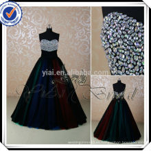 RSE223 arco iris de color falda decoraciones de diamantes de imitación para el vestido de noche vestido de bola 2014