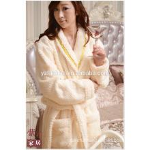 Romantic Cream Honeycomb jacquard Fleece Bathrobe For Online Shopping
