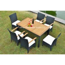 1 + 6 pièces Ensemble de meubles de jardin avec bois en teck