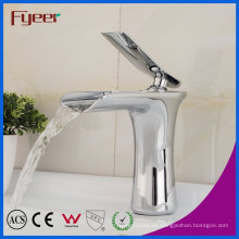 Fyeer Chrome Single Handle Waterfall Baño Original Lavabo Fregadero Grifo Mezclador de agua Grifo