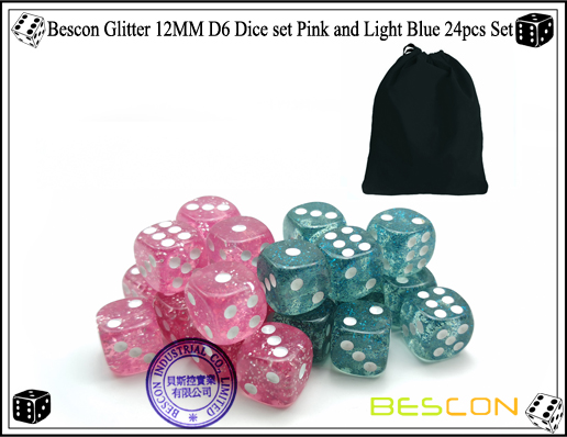 Bescon Glitter 12MM D6 Dice set Pink and Light Blue 24pcs Set-5