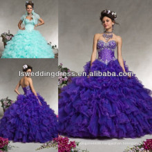 HQ2054 Light aqua organza with beading ruffled tiered organza ball gown full skirt corset puffy organza quinceanera dresses