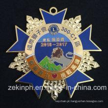 De alta qualidade de liga de zinco estrela de metal em forma de medalha de distintivo