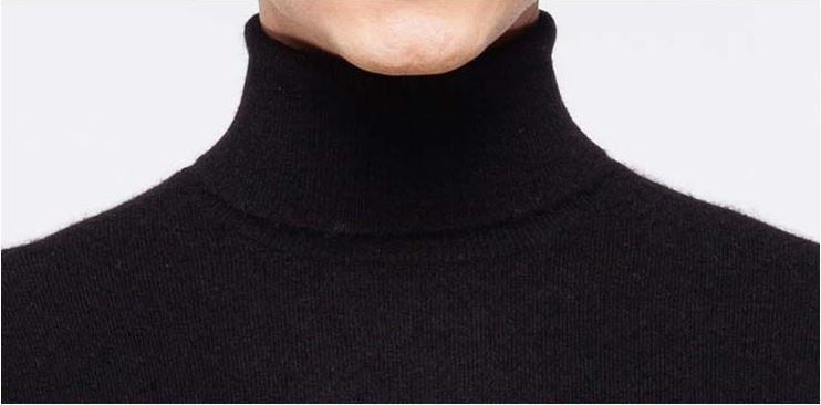 Men's turtle neck pure cashmere sweater -7