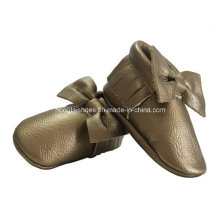 Aureate Bowknot Leather Baby Shoes