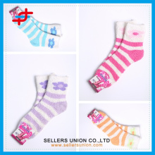 ladies's terry microfiber stripe cozy thick tube socks custom logo