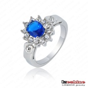 Latest Design Blue Rhinestone White Gold Costume Jewelry Ring (Ri-HGK37)
