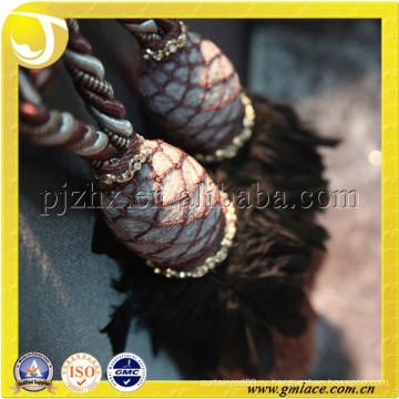Полиэфирные занавески для кисточек, коричневая смесь с кремовой цветной пряжей