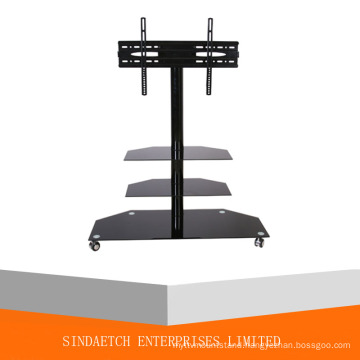 High Glossy Black Glass TV Stand in Living Room