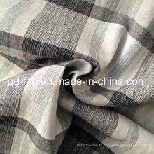 100% Tissu teint de fil de lin (QF13-0758)