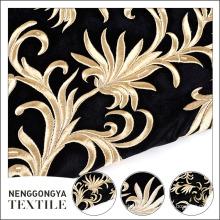 Proveedor de China hermoso bordado floral terciopelo tela rollo