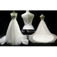 Ivory Illusion back scoop collar applique lace wedding dress BYB-14593