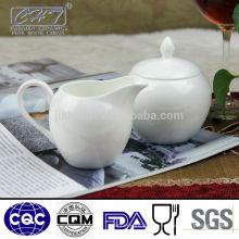 Porcelana branca elegante porcelana china açúcar pote