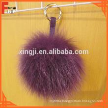 Fox Fur Pom Pom Balls with leather strip keyring for bag