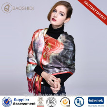 Impresión digital de doble capa y bufandas de seda cepillada chales con borlas