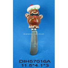 Stainless Steel Cheese Knife with Ceramic Gingerbread Man Handle