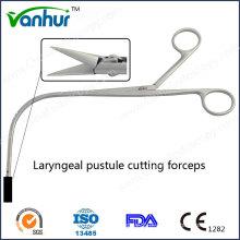 Instrumentos de garganta Tesoura de corte da laringe Pustule