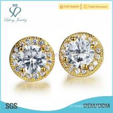 Brincos de diamante de cobre redondo, jóias brincos de ouro 18k