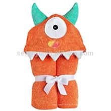 Orange One Eyed Monster capuche bébé serviette de bain, 100% coton, super doux, lavable en machine, meilleur cadeau de douche pour les bébés